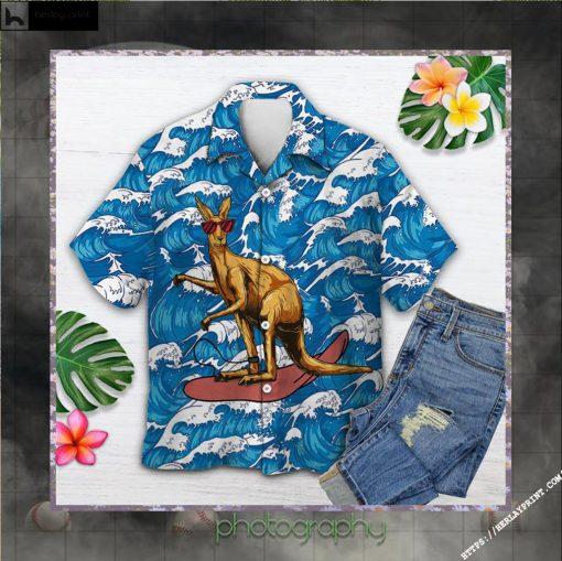 Amazing Kangaroo Surfing Hawaiian Shirt Short