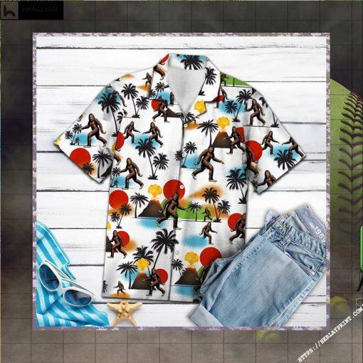 Bigfoot Camping Hawaiian Shirt Short