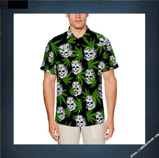 Custom Cannabis Leaves Marijuana Pattern With Skull All Over Print Hawaiians