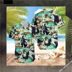 Sunset Godzilla Tropical Island Hawaiian shirt