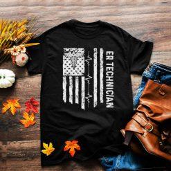 ER Technician Emergency Room Tech Heartbeat usa Flag T Shirt