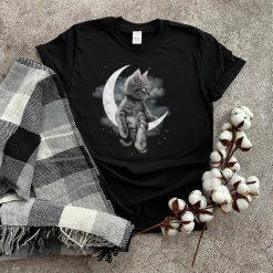 Black Cat Sit On The Moon Halloween Shirt