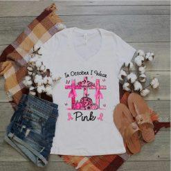 Breast cancer In october i wear Pink ribbon pumpkin T Shirt