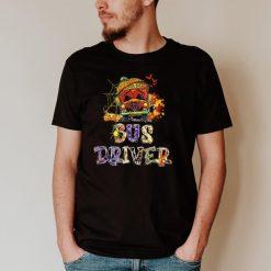 Bus Driver School Bus Halloween Costume With Pumpkin Mens T Shirt