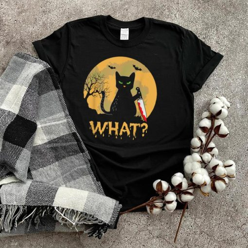 CAT WHAT_ Murderous Black Cat with Knife Halloween Costume T Shirt (1)