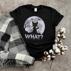 CAT WHAT_ Murderous Black Cat with Knife Halloween Costume T Shirt