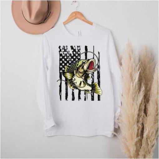 Fishing American Flag Vintage Full Color Bass Fish Sweatshirt