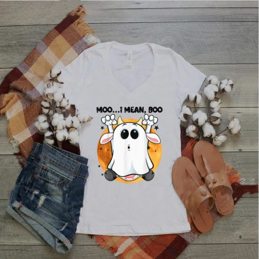 Ghost Cow Moo I Mean Boo Pumpkin Moon Halloween T Shirt