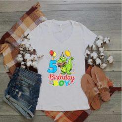 Kids 5 Year Old Gift 5th Birthday Boy Dinosaur T Shirt