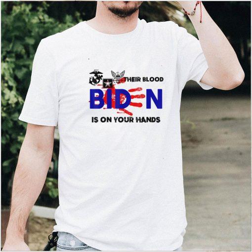 Mens Their Blood Biden Is On Your Hands Vintage Biden Handprint T Shirt