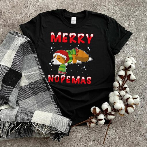 Merry Nopemas Corgi Nope Lazy Funny Pajamas Christmas T Shirt