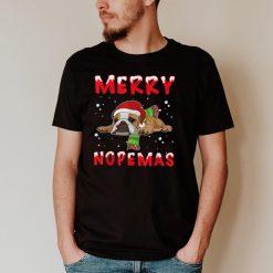 Merry Nopemas Frenchie Nope Lazy Funny Pajamas Christmas T Shirt