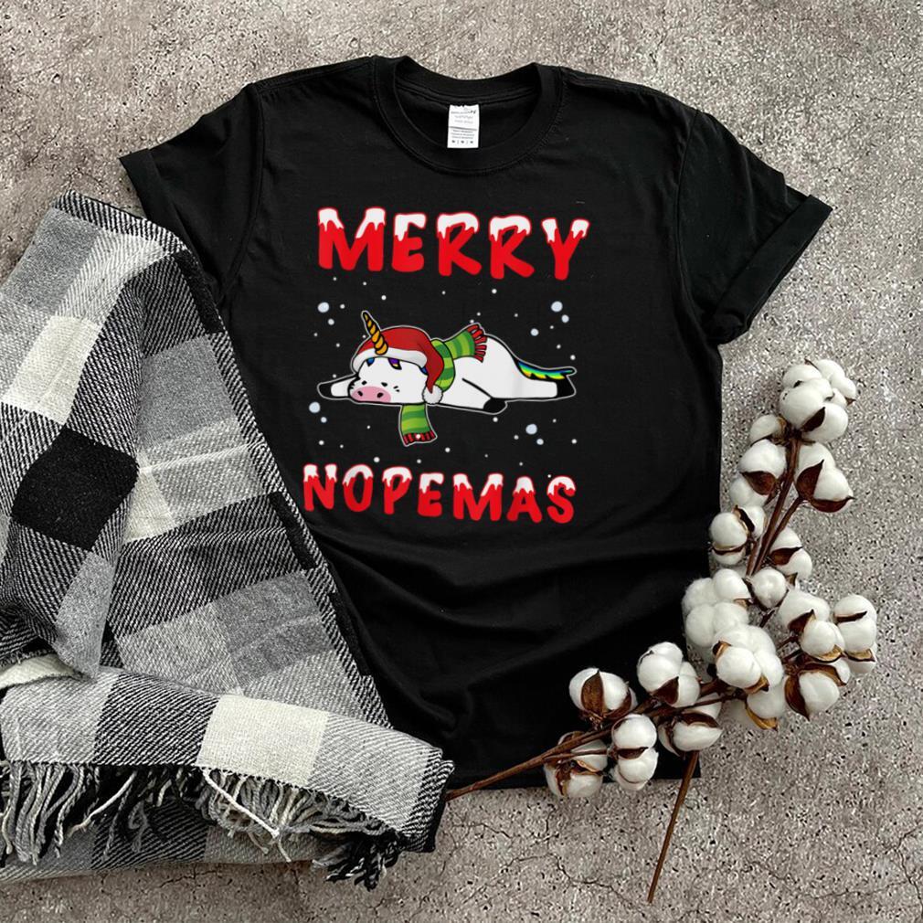 Merry Nopemas Unicorn Nope Lazy Funny Pajamas Christmas T Shirt