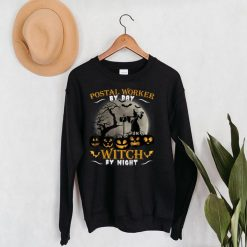 Postal Worker By Day Witch By Night Funny Halloween Day Gift T Shirt