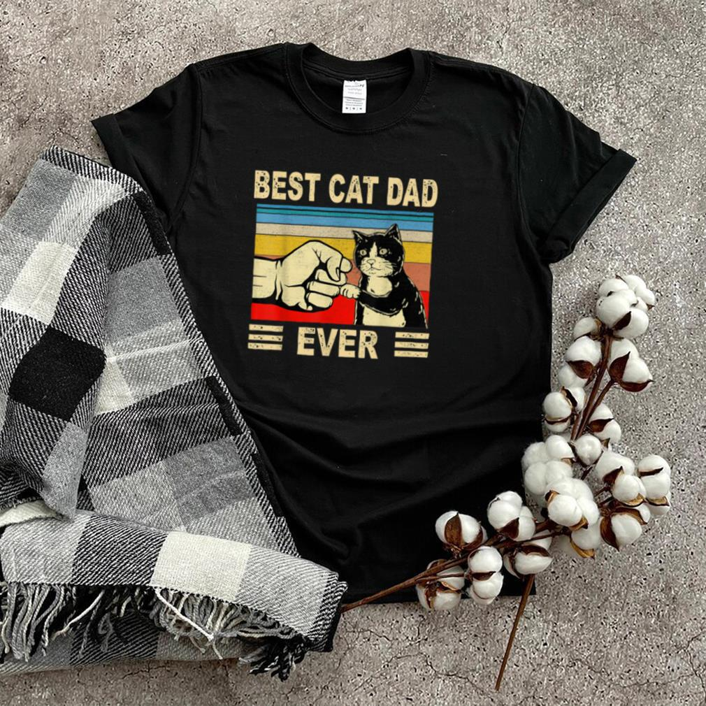 Retro Vintage Best Cat Dad Ever Fathers Day Black Cat T Shirt