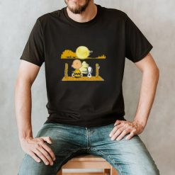 Snoopy and Charlie Brown Moon Guitar Water Reflection shirt