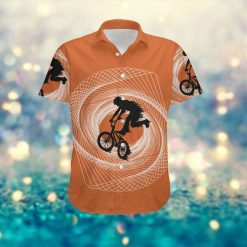 BMX Rider Circle Pattern 3D Men Hawaiian Aloha Tropical Button Up Shirt For Extreme Sport Lovers On Summer Vacation