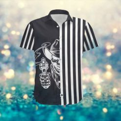 Black And White Striped Pattern Skull Cowboy Men Hawaiian Aloha Tropical Button Up Shirt For Boys On Summer Vacation