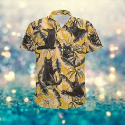 Black Cat Retro Vintage Style Men Custom Name Hawaiian Aloha Tropical Floral Button Up Shirt For Pet Lovers In Summer