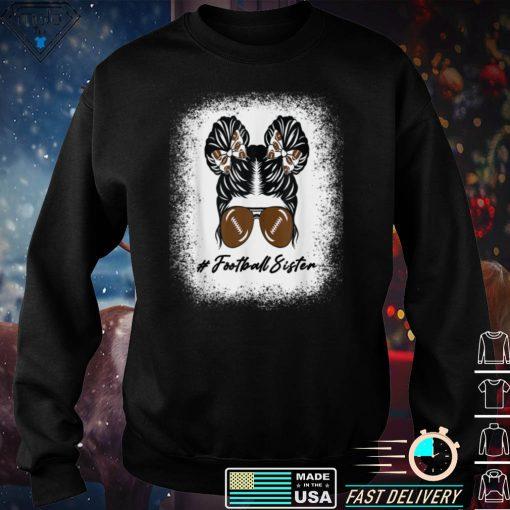 Bleached Leopard Messy Bun Sister Life Girls Football Sister T Shirt