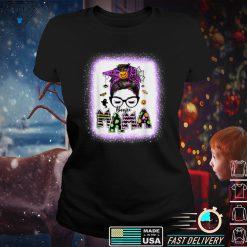Boojie Mama Halloween Monster Messy Bun Skull Mom Bleached T Shirt