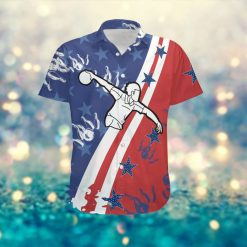 Bowling Player American Flag Custom Name Men Hawaiian Aloha Tropical Beach Button Up Shirt For Bowlers And Sport Lovers