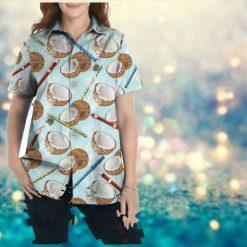 Coconut Pattern Flute Custom Name Women Hawaiian Aloha Beach Button Up Shirt For Fluters On Summer Vacationz
