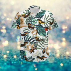 Cute Dachshund Women Hawaiian Aloha Tropical Floral Beach Button Up Shirt For Dog Lovers On Summer Vacation