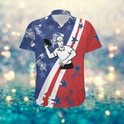 Disc Golf Player American Flag Custom Name Men Hawaiian Aloha Tropical Beach Button Up Shirt For Disc Golfers