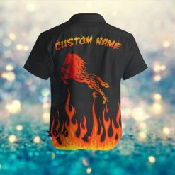 Fire Horse Custom Name Retro Men Hawaiian Aloha Tropical Beach Button Up Shirt For Animal Lovers On Summer Vacation