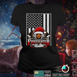 Fire Truck American Flag Proud Firefighter Christmas Long Sleeve T Shirt