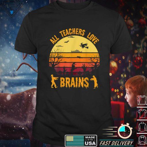 Funny Halloween Costume Teacher Love Brains Zombie T Shirt