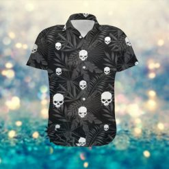 Horror Skulls Custom Name Men Hawaiian Tropical Floral Beach Button Up Shirt For Skeleton Lovers On Summer Vacation