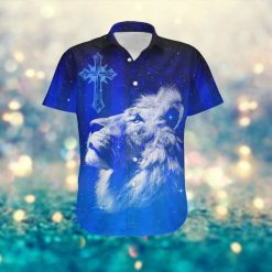 Jesus Cross Lion Galaxy American Flag Custom Name 3D Women Hawaiian Aloha Button Up Shirt For God Lovers In Daily Life