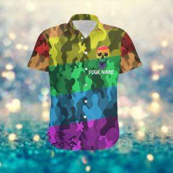 LGBT Rainbow Camouflage Skull Custom Name Women Hawaiian Aloha Shirt For Gay Lesbian Bisexual Transgender In Pride Month