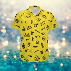 Native American Symbols Custom Name Men Hawaiian Aloha Tropical Beach Button Up Shirt For American Indians Lovers