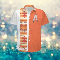 Native Americans Feather Patterns Custom Name Men Hawaiian Aloha Tropical Beach Button Up Shirt For American Indians