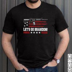 Official Gun American Flag Patriots Lets Go Brandon on back T Shirt