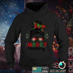 Official Merry Mammy Christmas Messy Bun Red Plaid Xmas T Shirt