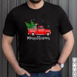 Official Miniature Schnauzer Dog Riding Red Truck Christmas T Shirt