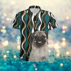 Pug Hawaiian Aloha Tropical Floral Women Beach Button Up Shirt For Dog Owners And Pet Lovers On Summer Vacation