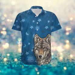 Retro Vintage Style Wolf Hippie Sun Stars Custom Name Hawaiian Aloha Tropical Beach Button Up Shirt For Women In Summer