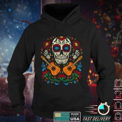 Sugar Skull Flowers Guitar Dia De Muertos Mexican Halloween Shirt