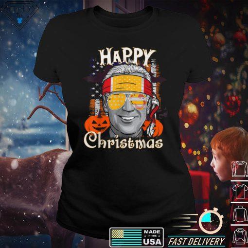 Vintage Anti Joe Biden Happy Christmas Halloween Pumpkin T Shirt 1