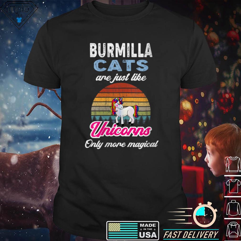 Womens Funny Burmillas Design   Retro Unicorn Vintage Sunset V Neck T Shirt